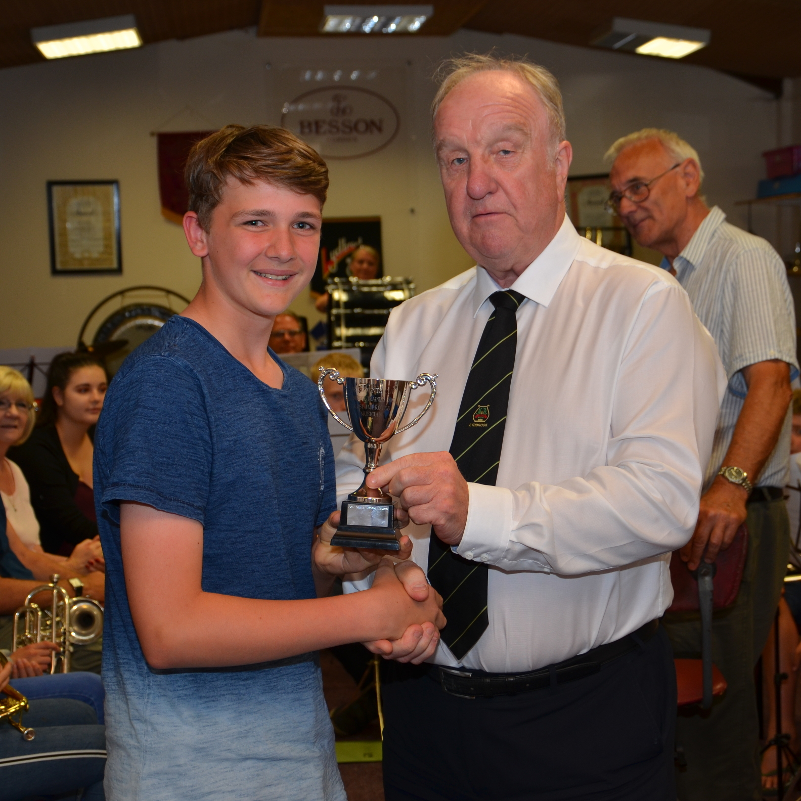 Peter presented the Presidents cup for the most improved musician to 14 year old percussion player Will Hamilton.